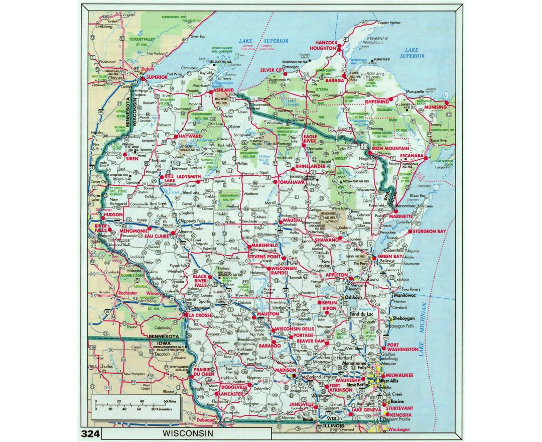 Maps of Wisconsin state Collection of detailed maps of Wisconsin
