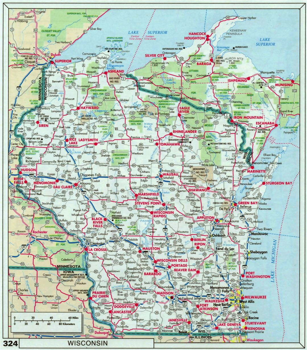Large detailed roads and highways map of Wisconsin state with national parks and cities
