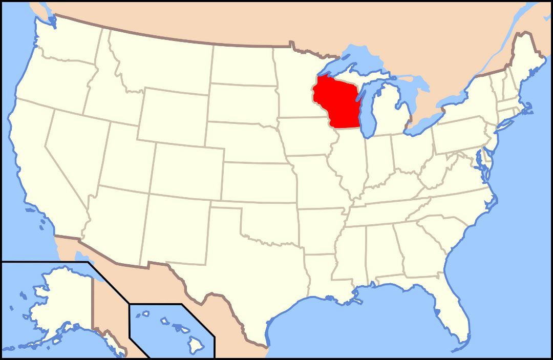 Large location map of Wisconsin state