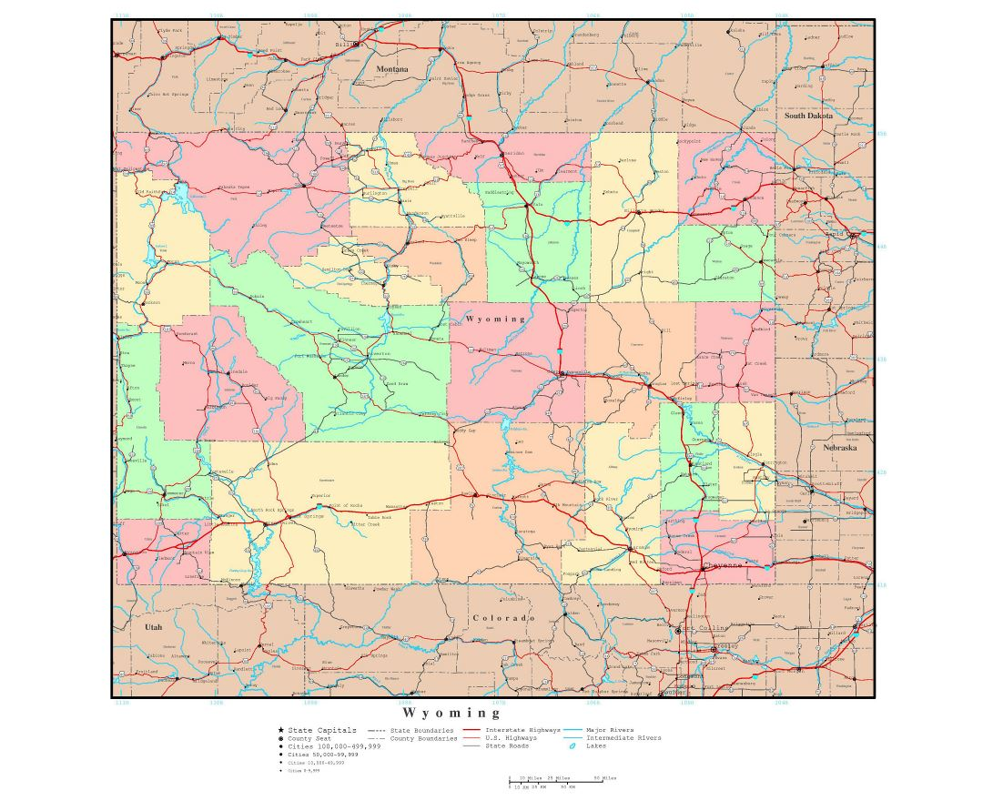 Large detailed administrative map of Wyoming state with roads, highways and major cities