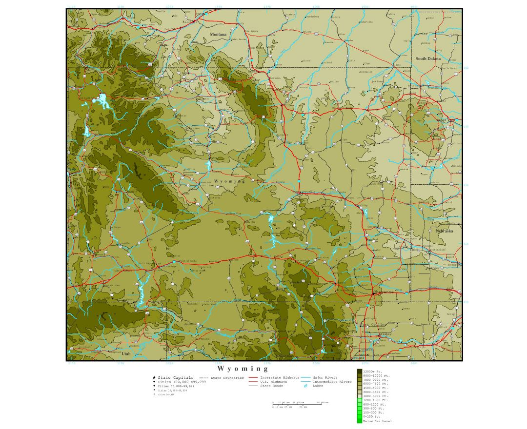 Large detailed elevation map of Wyoming state with roads, highways and cities
