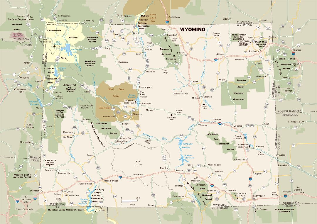 Large detailed map of Wyoming state with national parks, highways and major cities