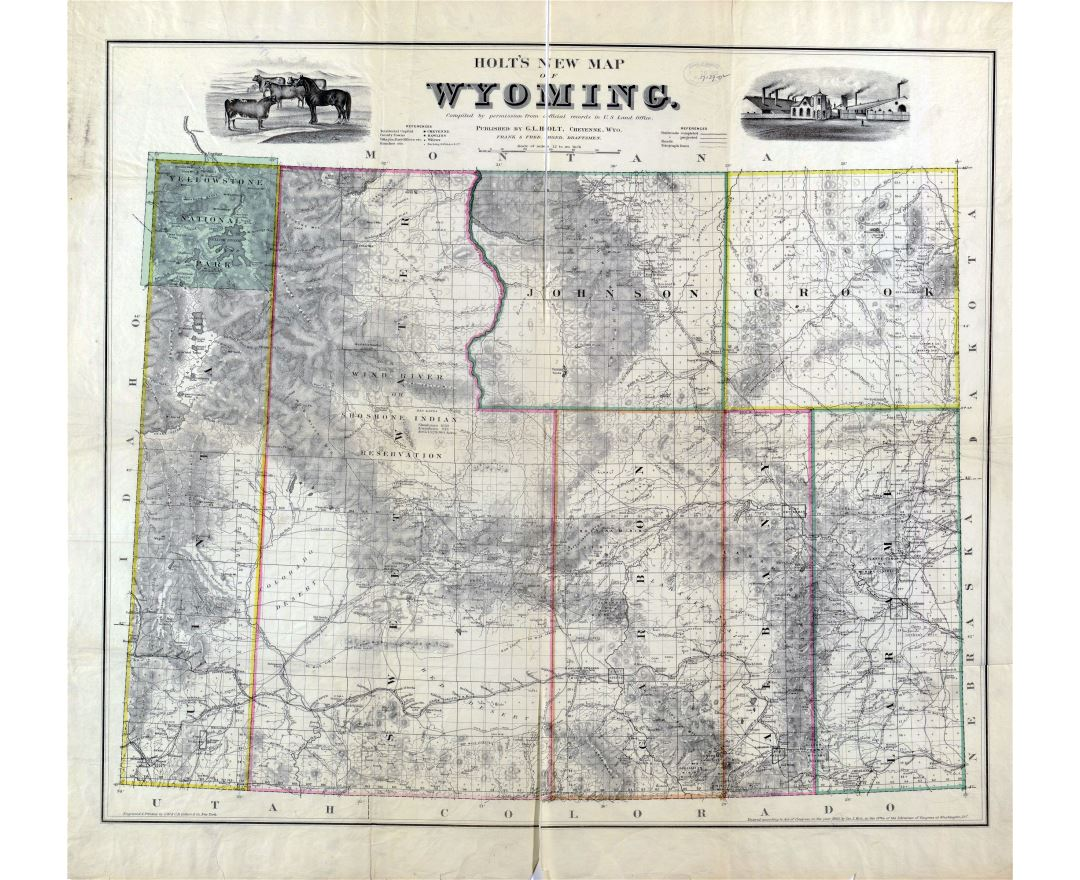 Large detailed old administrative map of Wyoming state with other marks - 1883