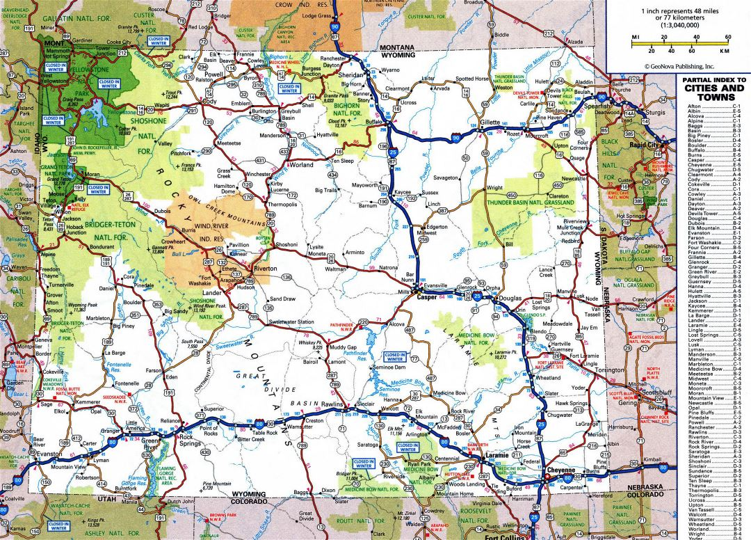Large detailed roads and highways map of Wyoming state with all cities and national parks