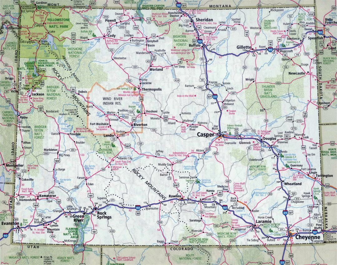 Large detailed roads and highways map of Wyoming state with all cities