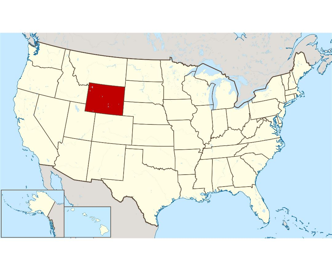Large location map of Wyoming state